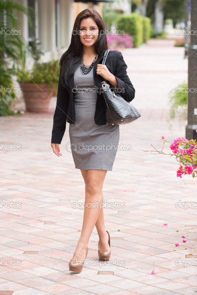 Well dressed woman on the way to work — Stock Photo ...
