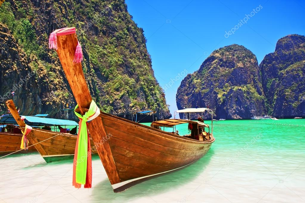 Traditional wooden boat at Phi Phi island, Thailand, Asia.