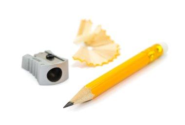 pencil, sharpener and shavings
