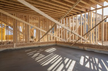 New house interior framing