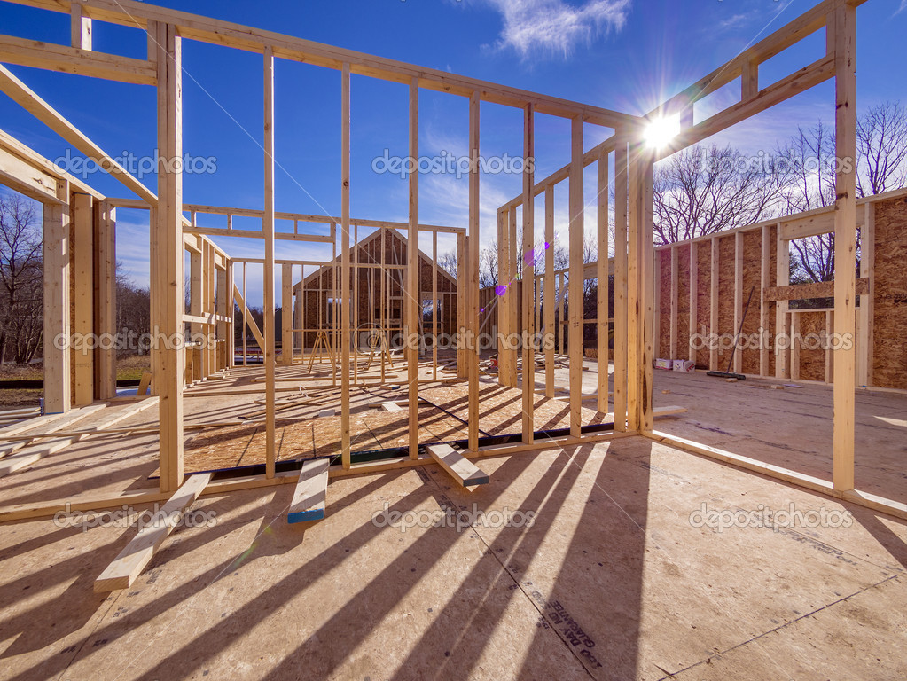new house framing construction stock photo sonar 18016301