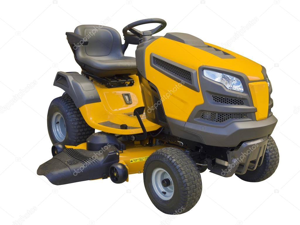 rasenm her traktor isoliert auf weiss stockfoto sonar. Black Bedroom Furniture Sets. Home Design Ideas