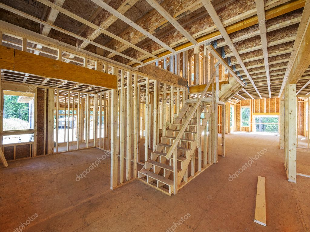 New house construction interior framing