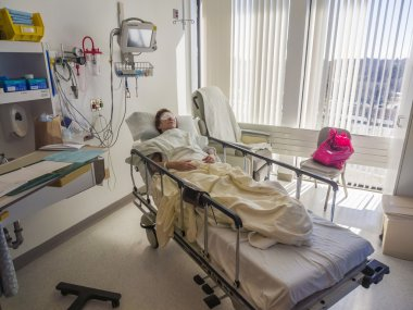Hospital room with patient