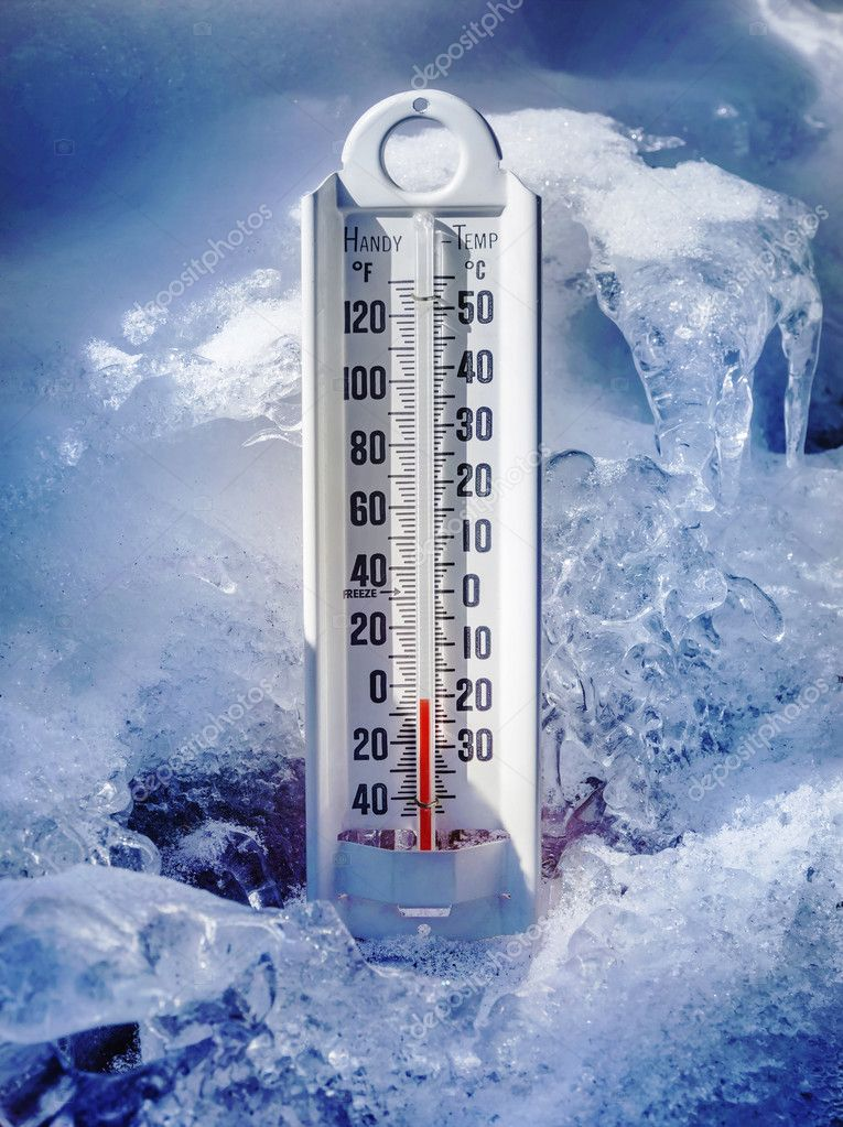 ice cold thermometer in ice and snow stock photo sonar 43060117