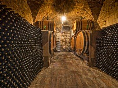 Wine bottles and oak barrels in cellar