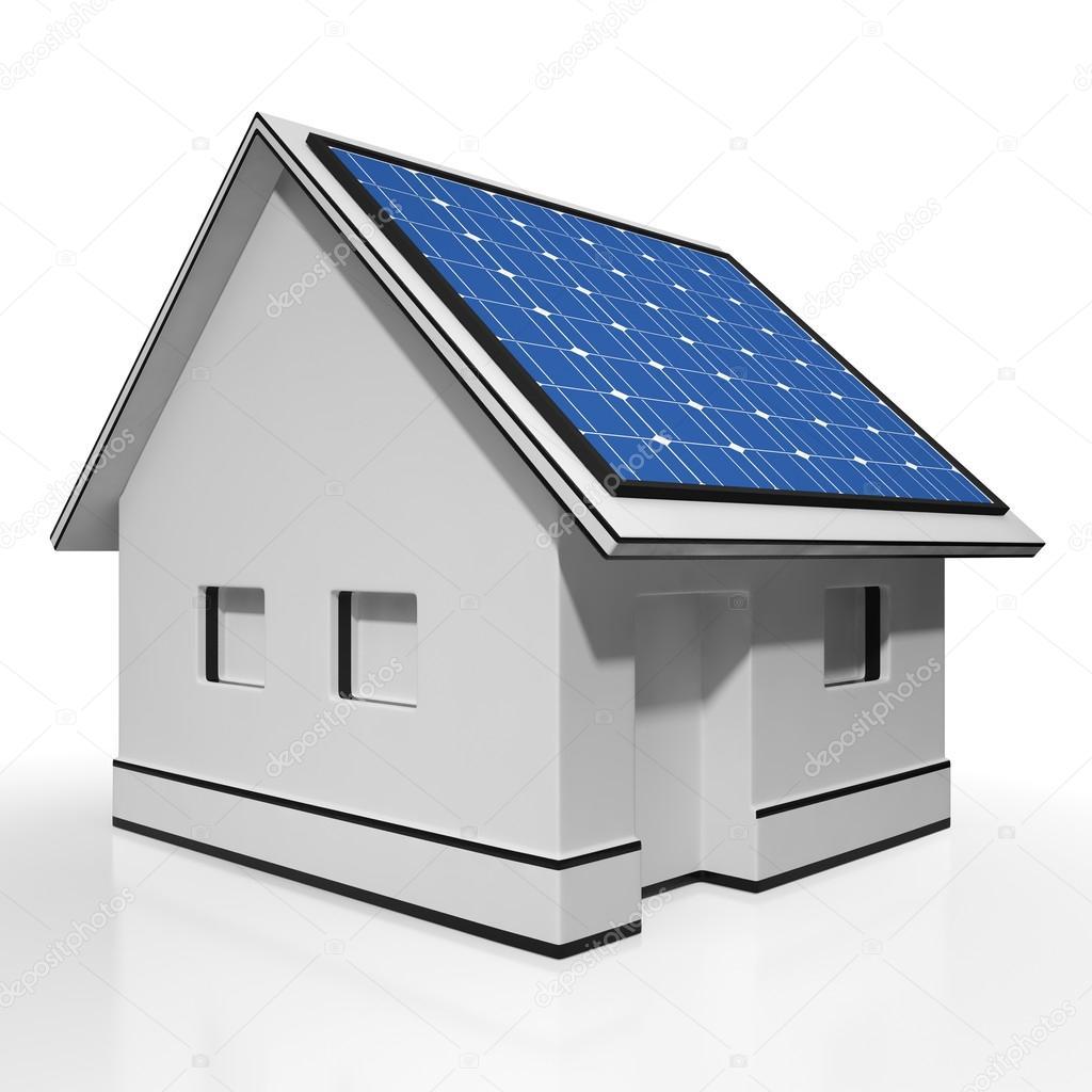 Haus Mit Solar Panels Zeigt Sonne Strom Oder Strom U2014 Foto Von Stuartmiles