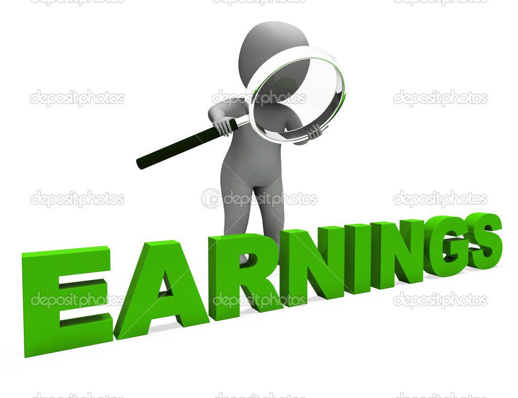 earnings character shows earning revenue and profitable incomes