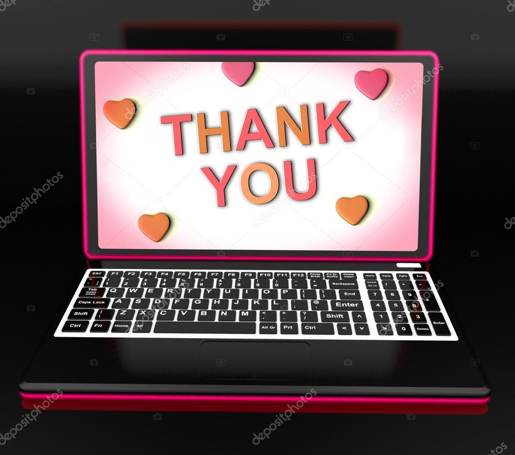 ich danke ihnen f r laptop zeigt dank der wertsch tzung und dankbarkeit stockfoto. Black Bedroom Furniture Sets. Home Design Ideas