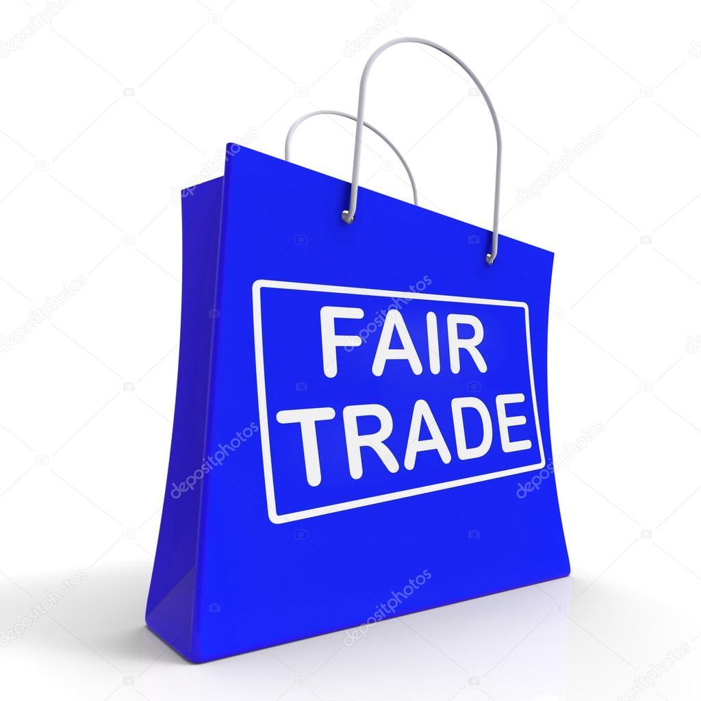 d6f9ccfb5ab9 Fairtrade bevásárló táska mutatja a méltányos kereskedelmi termék vagy  termékek– stock kép
