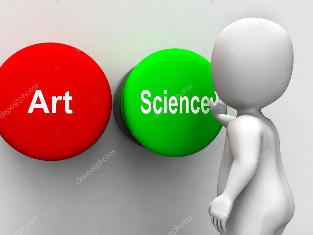 Botões De Arte Ciência Mostra Científica Ou Artística Fotografias