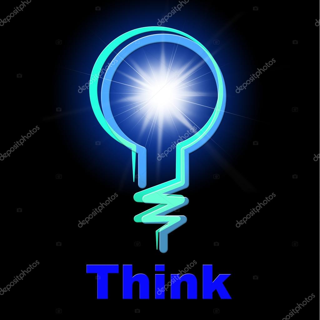 Light Bulb Means Think About It And Thinking Stock Photo