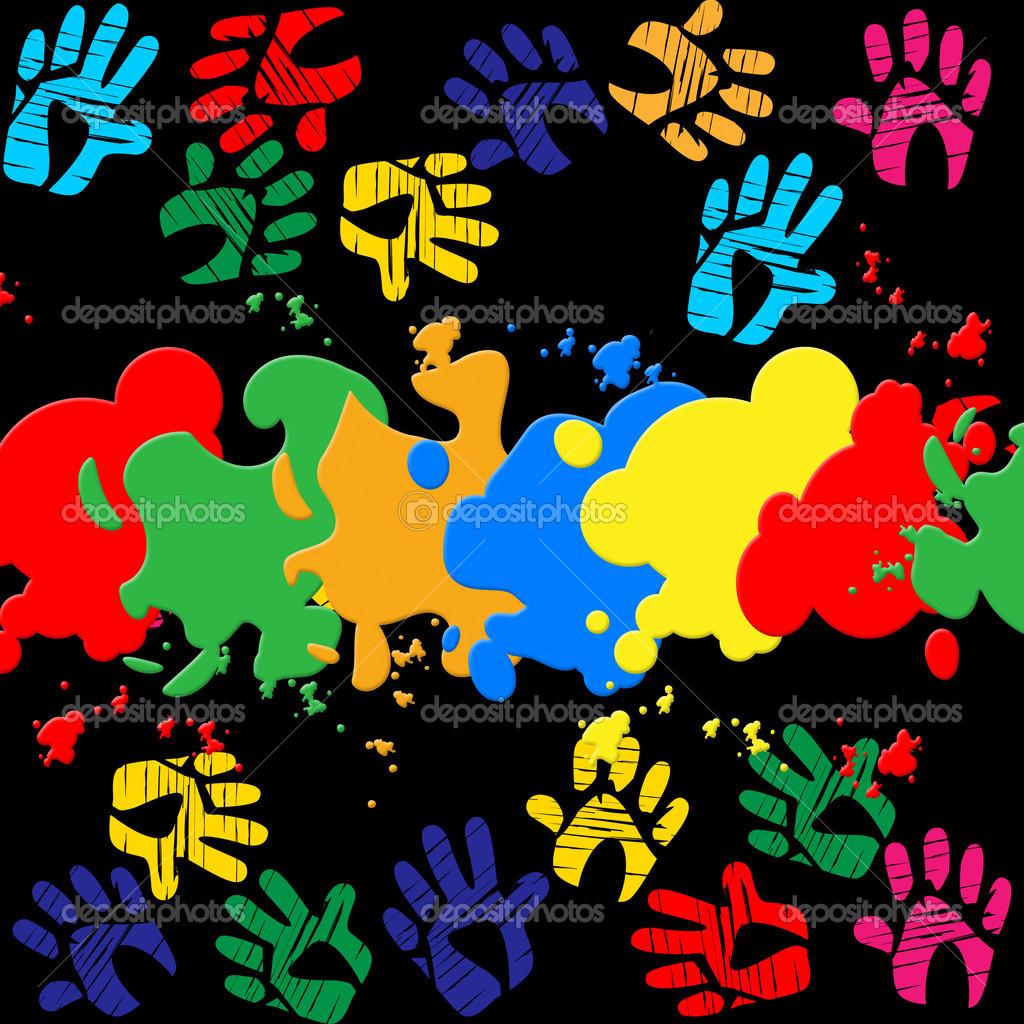 Impronte di mani colorate indica colore colori e sfondi - Immagini st patrick a colori ...