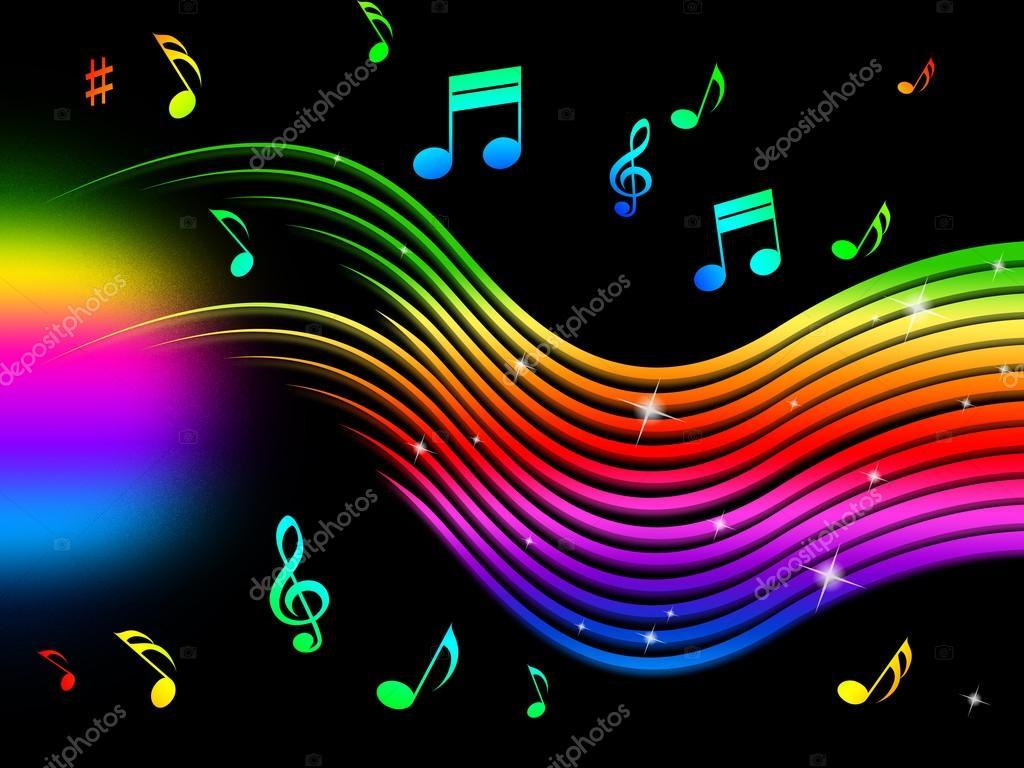 Regenboog Muziek Achtergrond Betekent Kleurrijke Lijnen En