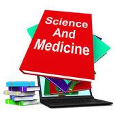 Věda a medicína kniha zásobníku laptop ukazuje lékařský výzkum