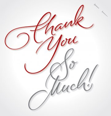 THANK YOU SO MUCH hand lettering, vector illustration. Hand drawn lettering card background. Modern handmade calligraphy. Hand drawn lettering element for your design.