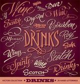 20 DRINKS menu hand lettered headlines (vector)