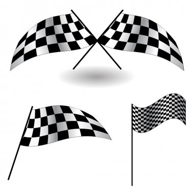 Set of checkered Flags Illustration.