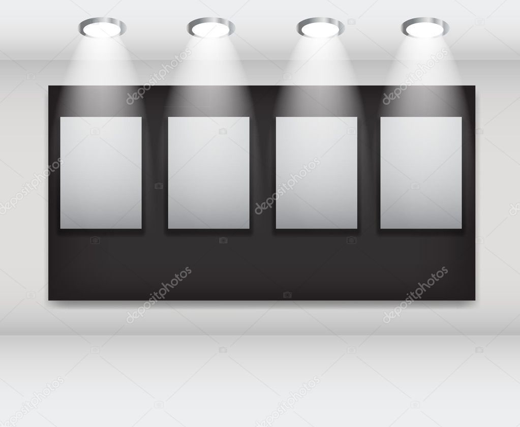 White frames in art gallery ector illustration
