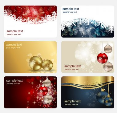 Set of cards with Christmas BALLS, stars and snowflakes, illustr