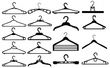 Clothes hanger silhouette collection vector illustration.