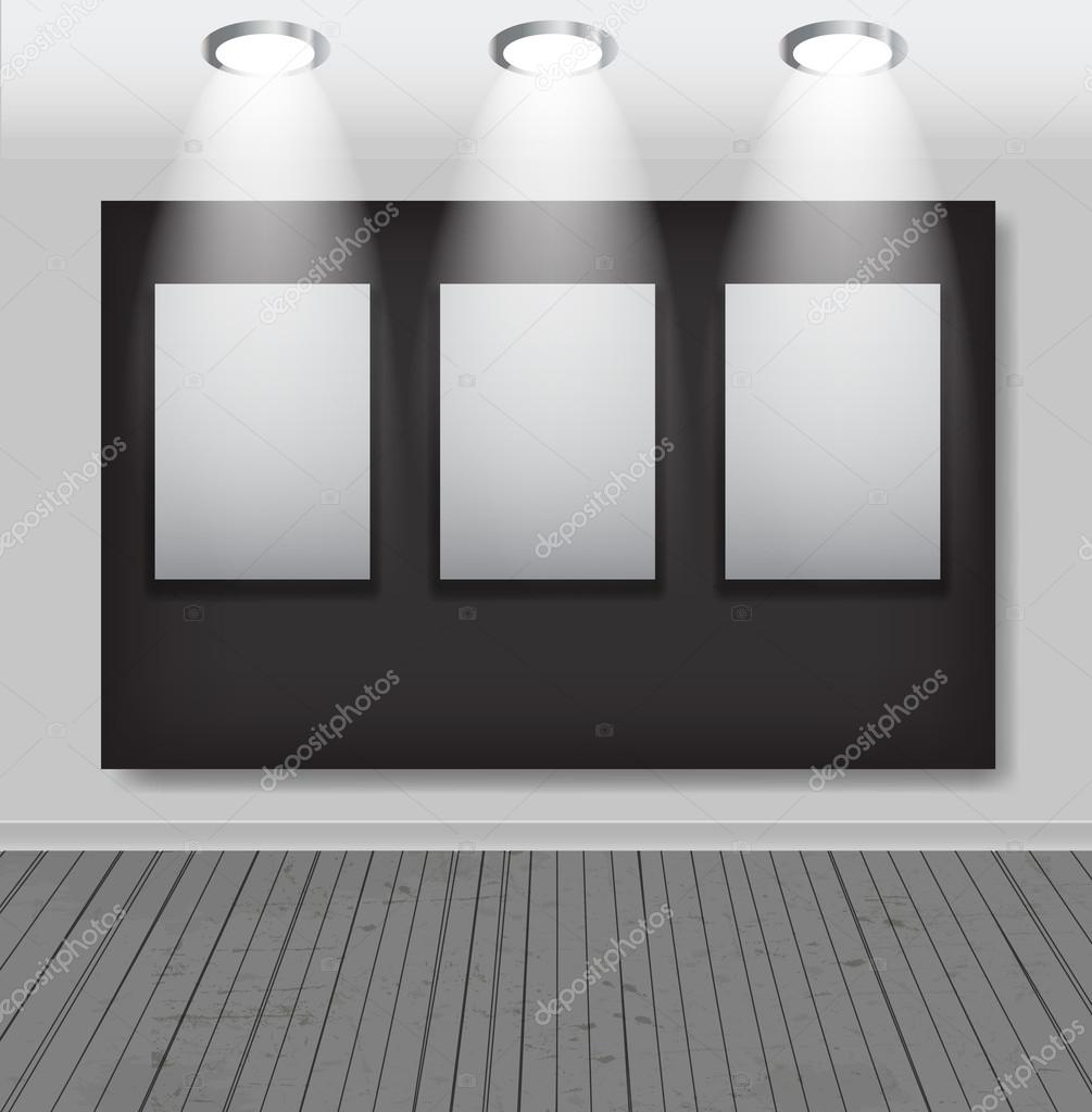 Marcos blancos en la galería de arte vector illustration — Vector de ...