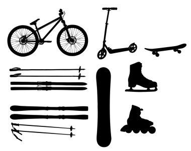 Sports Equipment silhouette vector illustration