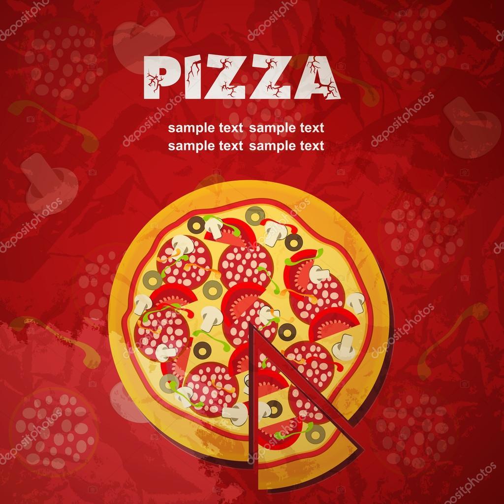 Modelo De Menu Pizza, Ilustração Vetorial U2014 Vetores De Stock
