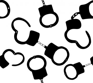 Seamless pattern of handcuffs silhouettes vector illustration on