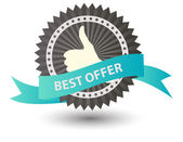 Photo Vector Best Seller label with red ribbon.