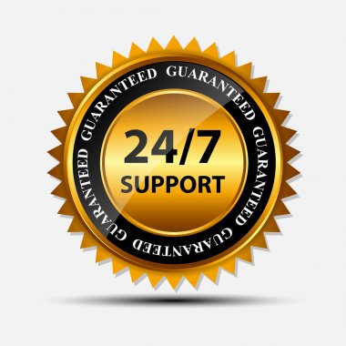 Vector SUPPORT gold sign, label template