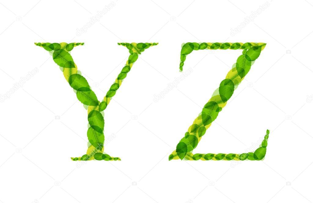 Letras del alfabeto vectorial hechas de hojas de primavera verde ...