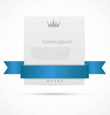 White card with ribbon vector illustration