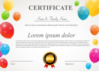 Certificate with balloons template vector illustration
