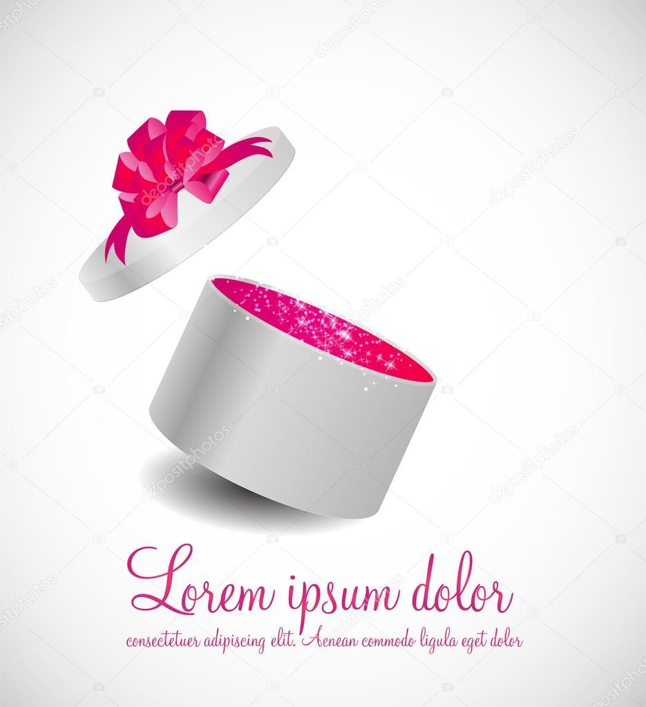 Geschenkbox mit Schleife und magische Licht Feuerwerk Vektor Illus ...
