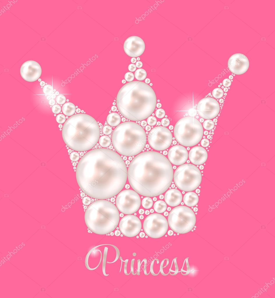 Princess Crown Pearl Background Vector Illustration.