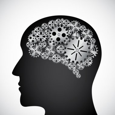 Gears in the mind profile clip art vector