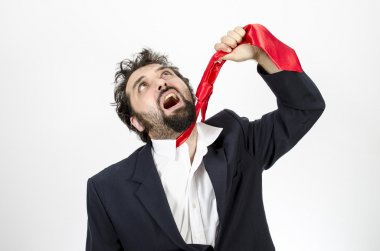 Businessman Hanging Himself With A Tie