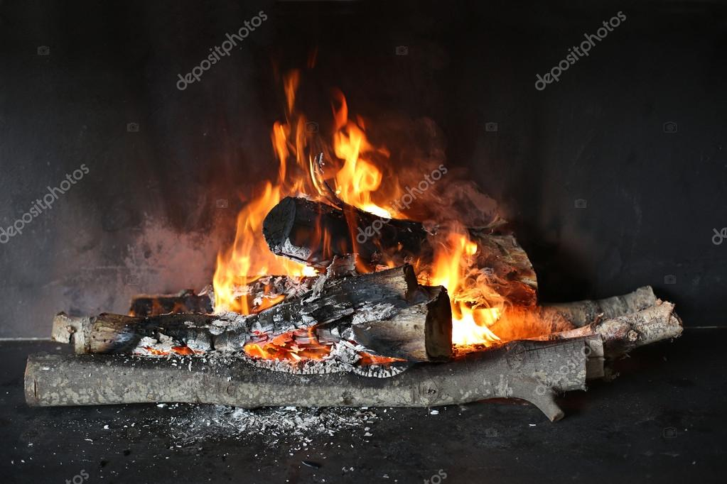 Closeup of wood burning in fireplace