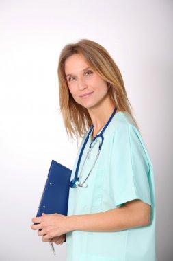 Closeup of beautiful blond nurse