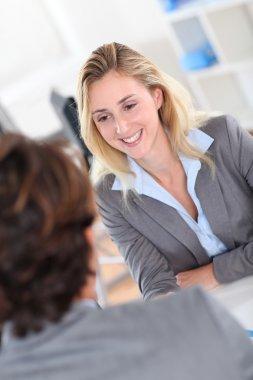 Woman attending job interview