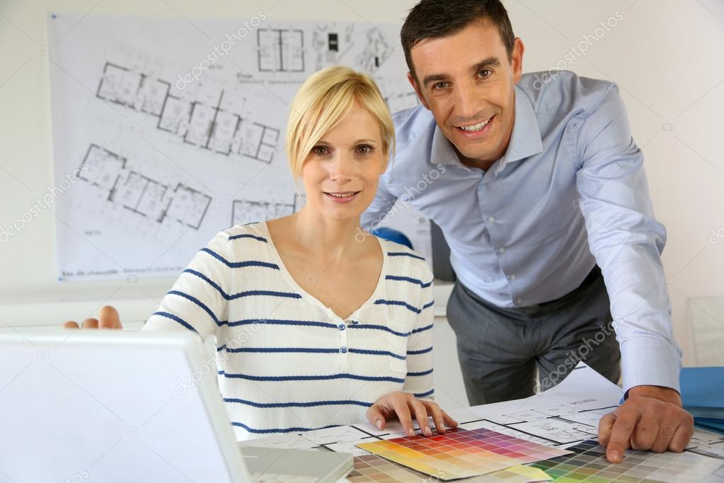Portrait of smiling successful architects  Stock Photo #27879141