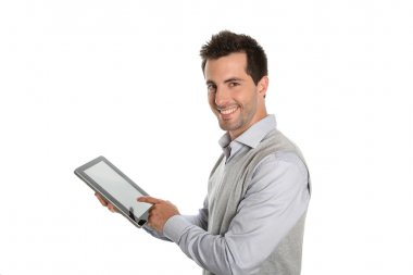 Businessman showing tablet screen
