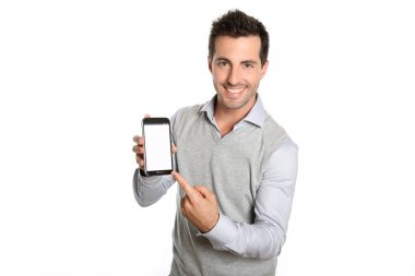 Man pointing at smartphone screen
