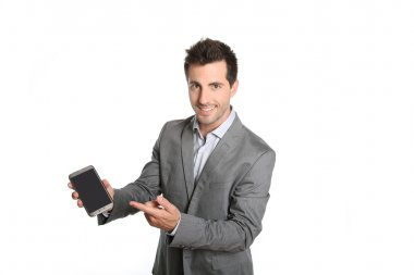 Businessman presenting application on smartphone