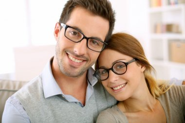 Couple with eyeglasses on
