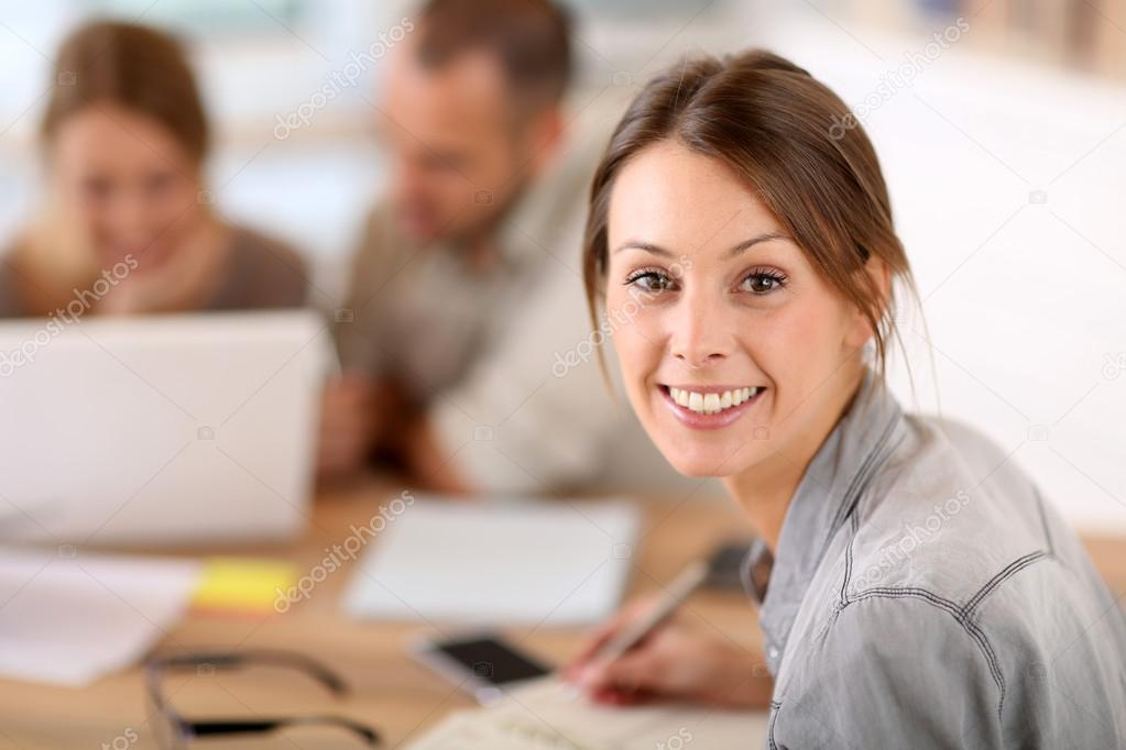 Woman attending business training class