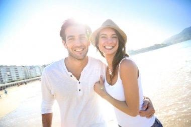 Happy couple at beach