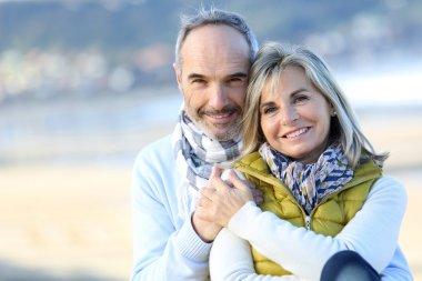 Portrait of smiling senior couple stock vector