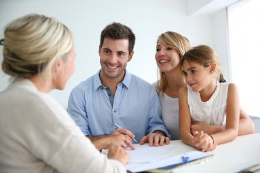 Family meeting real-estate agent for house investment stock vector